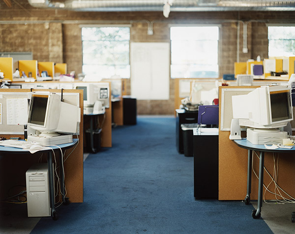 Empty Cubicles in office Building